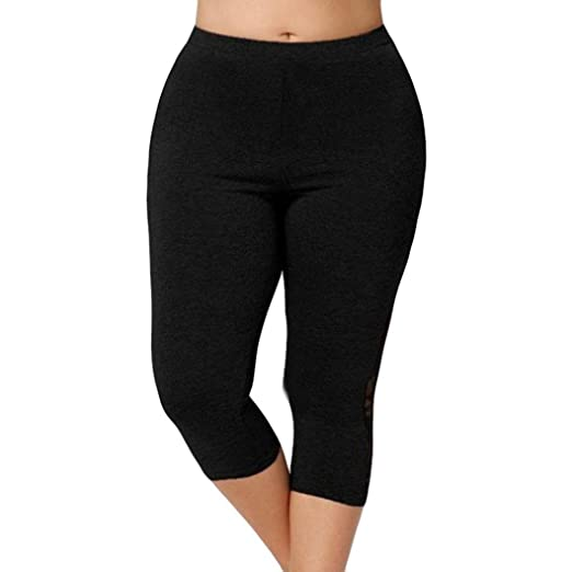 27ddc67d745ac9 Amazon.com: FitfulVan Yoga Leggings, Workout Yoga Pants for Women Yoga  Leggings Capri Plus Size High Waist Lace Splicing Pants: Clothing