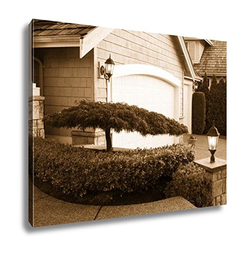 Ashley Canvas Blooming Japanese Maple Tree In Front Of Home, Kitchen Bedroom Living Room Art, Sepia 24x30, AG6537379 Bedroom Maple Poster Bed