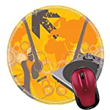 Liili Round Mouse Pad Natural Rubber Mousepad Retro vector with a dj mix turntable and a grunge starburst background Photo 701515