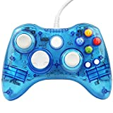 Xbox 360 Controller GC20 Transparent LED Controller Dual Vibration Wired Controller for Microsoft Xbox 360/PC(Blue)