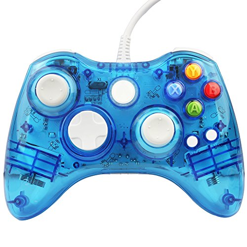 Kycola GC20 Xbox 360 Controller Dual Vibration Wired Gamepad Controller Transparent LED for Microsoft Xbox 360 / PC (Blue)