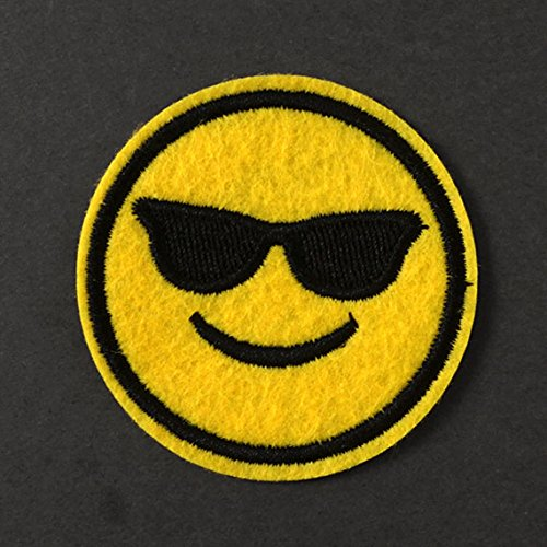 Sunglasses Emoji Embroidered Iron-On Applique Patch, Embroidery Patch by 2 pcs, 2-1/8