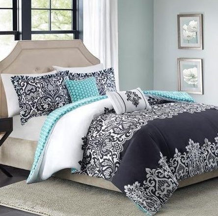 Better Homes and Gardens Damask 5-Piece Bedding Comforter Set, Black, Full/Queen from Better Homes and Gardens