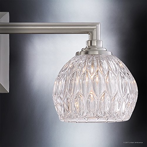 Luxury Crystal LED Bathroom Vanity Light, Medium Size: 6.25''H x 20''W, with Classic Style Elements, Brushed Nickel Finish and Marquis Cut Glass Shades, G9 LED Technology, UQL2621 by Urban Ambiance by Urban Ambiance (Image #5)