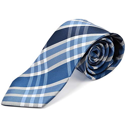 Ike Behar Boys 52'' Blue And Grey Plaid Tie by Ike Behar
