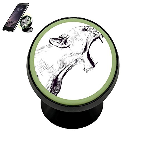 Howling Jaguar Magnetic Phone Car Mount Holder, 360 Rotation Universal Magnetic Luminous Mobile Phone Holder by PG-Gai