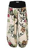 BAISHENGGT Women's Floral Print Elastic Waist Harem Pants One Size Apricot-Floral