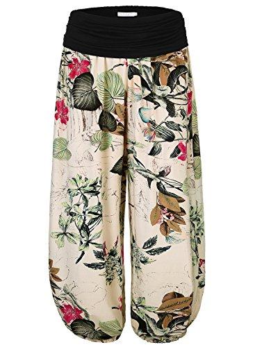 BAISHENGGT Women's Floral Print Elastic Waist Harem Pants Large Apricot-Floral