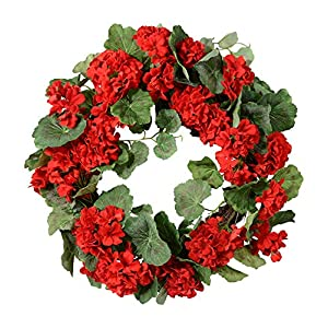 Ten Waterloo 21 Inch Red Geranium Wreath on Hand Tied Twig Base, Artificial Floral, Spring and Summer Front Door Wreath 78