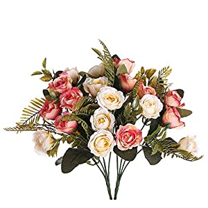 Aurdo Artificial Flowers, Fake Silk Vintage Rose Flowers Bouquet for Room, Kitchen, Garden, Wedding, Party Decor (2 Pack) 96