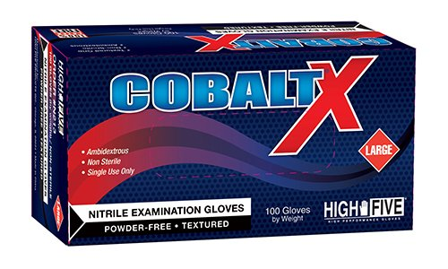 High Five Cobalt X N214 Series N21 Nitrile Exam Glove, X-Large (Case of 10)