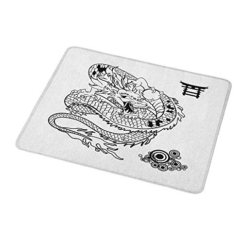 Gaming Mouse Pad Japanese Dragon,Tattoo Art Style Mythological Dragon Figure Monochrome Reptile Design,Black White,Custom Non-Slip Mouse Mat 9.8