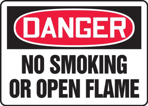"Accuform Signs MSMK120VS Adhesive Vinyl Safety Sign, Legend DANGER NO SMOKING OR OPEN FLAME, 7"" Length x 10"" Width x 0.004"" Thickness, Red/Black on White"