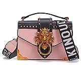 eedf1dca67 Fashion Metal Lion Head Mini Small Square Pack Shoulder Bag Crossbody  Package Clutch Women Wallet Handbags