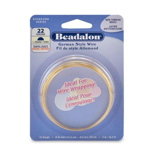 Beadalon Half Round Non-Tarnish Brass 22-Gauge Wire, 5-Meters ()