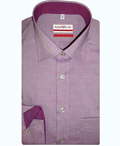 MARVELIS Modern Fit Hemd extra langer Arm Muster lila AL 69