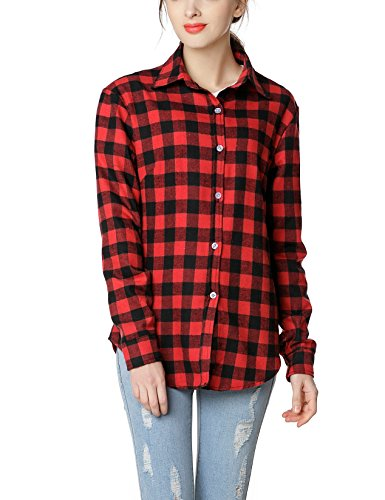 GUANYY Women's Long Sleeve Casual Loose Classic Plaid Button Down Shirt(Red ()