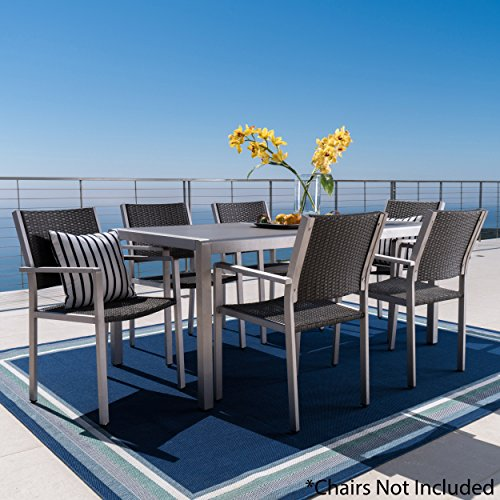 Christopher Knight Home Coral Bay Outdoor Grey Aluminum Dining Table with Tempered Glass Top