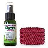 Kinven Anti Insect Repellent Bundle - Mosquito Repellent Bracelets & Spray, Waterproof, Natural, DEET-free, Indoor & Outdoor Protection for Adults & Kids (1oz spray bottle + 4 bracelet, Red)