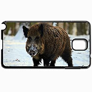 Personalized Protective Hardshell Back Hardcover For Samsung Note 3, Boar Tusks Winter Snow Forest Design In Black Case Color