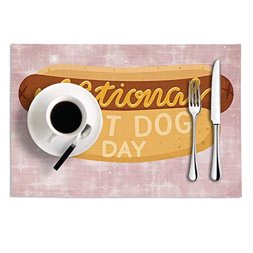 PVC National Hot Dog Day Retro Cool Table Mats Placemats Set Of 2 Heat-Resistant Tablemats Crossweave Woven Dining Table - Dog Retro Placemat
