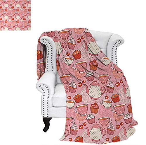 Jumbo Red Cup Cherry - Print Artwork Image Teapots Cups with Polka Dots Patterns Cherries Cakes Tea Coffee Pattern Warm Microfiber All Season Blanket 62