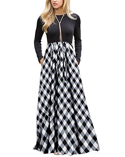 Round Pleated Skirt (LEANI Women's Long Sleeve Plaid High Waist Floor Length Pleated Maxi Dress With Pockets)