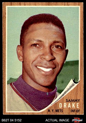 (1962 Topps # 162 GRN Sammy Drake New York Mets (Baseball Card) (Green Tint) Dean's Cards 4 - VG/EX Mets)