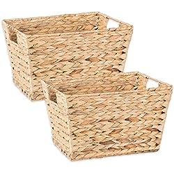 DII Z02006 Natural Water Hyacinth Storage Basket with Handles