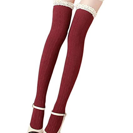 d7ee8529b2c71 Amazon.com: sweetnice Women Lace Winter Over Knee Leg Warme Soft Knitting Crochet  Sock Legging (Red): Garden & Outdoor