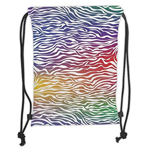 (Niomhdos Custom Printed Drawstring Sack Backpacks Bags,Zebra Print,Abstract Zebra Skin Pattern Geometric Horizontal Lines Stripes Illustration Decorative,Purple Red Yellow,Adjustabl)