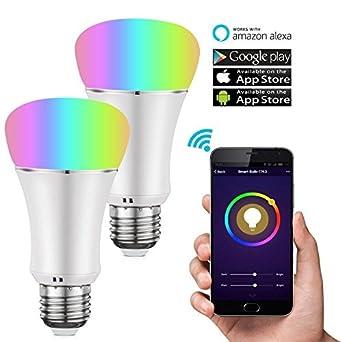 cleno casa Smart bombilla LED luz, Wi-Fi, LED Multicolor Bombillas (UL Listed), equivalentes a 60 ...