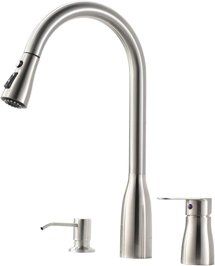 VESLA HOME 3 Hole Stainless Steel Brushed Nickel Single Handle Kitchen Faucet,Kitchen Sink Faucet with Pull Down Sprayer and Soap Dispenser.