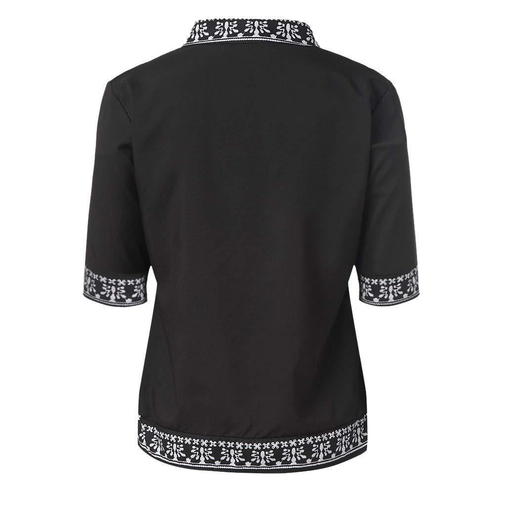 Scollo a V Estivo Donna con Scollo Casual Sport Top ad Asciugatura Rapida Selou Camicia Donna Stampata Stile Etnico