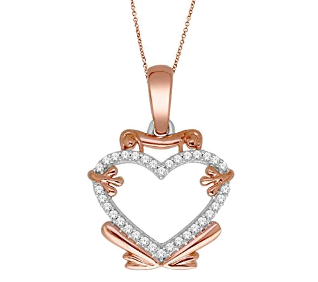 Midwest Jewellery 10K Rose Gold Heart Pendant and Necklace Set Genuine Diamonds Frog Pendant 1//10ctw 18 Inch