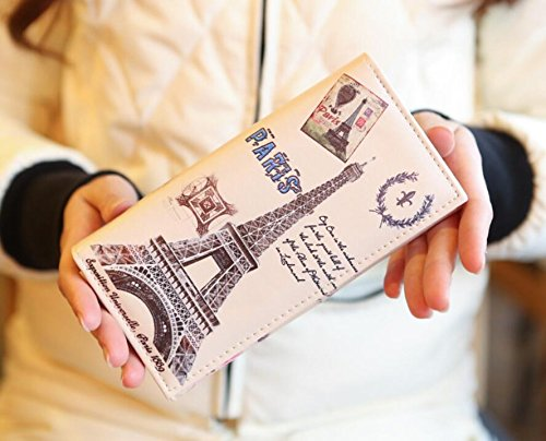 (Andesan Fashion PU Leather Paris Eiffel Tower Pattern Wallets Long Purse(Random)