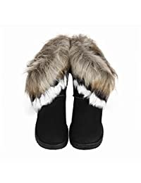 Yuxikong Women's Faux Fur Ankle Boots Winter Suede Flat Snow Shoes