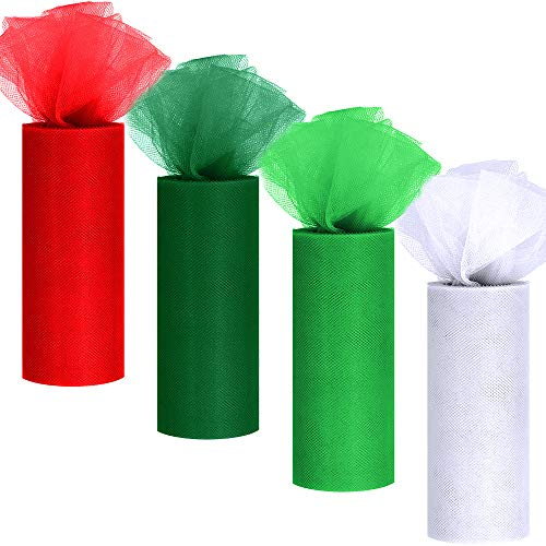4 Colors Christmas Tulle Rolls White Green Red Tulle Fabric Ribbon Tulle Netting Rolls Spool - 6 by 25 Yards/Spool for Holiday Season Wreath Hair Bows Party Table Skirt Dress