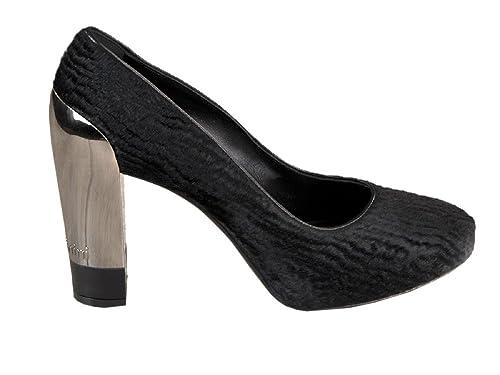 6f6b22058e0 Baldinini Black Leather Pony Fur Italian Designer 4 quot  High Heel Pumps  Shoes (35EU