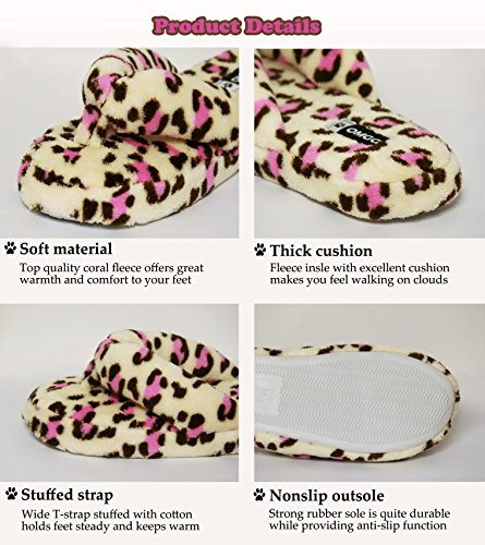 Flops Pink Women Animal for House with Print Leopard Flip Fleece Fluffy Slippers fvzqwR
