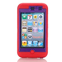 iPod Touch 4 4th Generation Case,Lantier 3 Layers [Hard PC Outer Cover+Soft TPU Silicone] Cute Owl Heavy Duty Armor Protective Case for iPod Touch 4/4th Generation/4th Gen Red+Purple