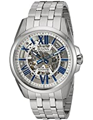 Bulova Mens Mechanical Hand Wind Stainless Steel Dress Watch, Color:Silver-Toned (Model: 96A187)