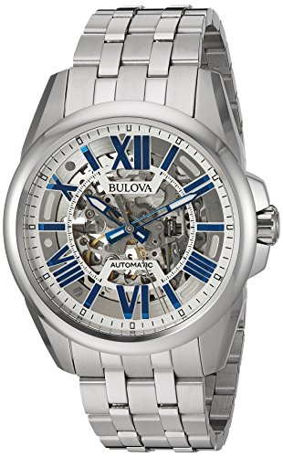 Bulova Men's Mechanical Hand Wind Stainless Steel Dress Watch, Color Silver-Toned (Model: 96A187) -