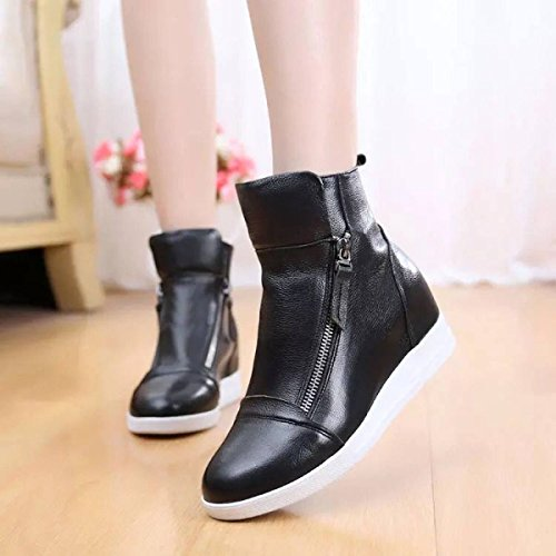 Autumn High The Black Women's BootsKorean Version Shoes Winter Increase Casual Double Help Leather Female Zipper And Boots Shoes Women rzXrq