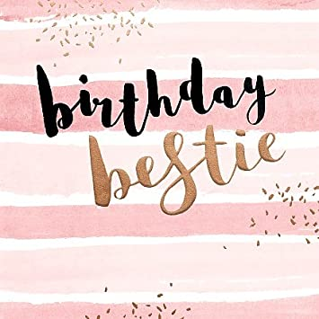 Bestie Birthday Card Modern Rose Gold Design Square 6x6 Amazoncouk Office Products