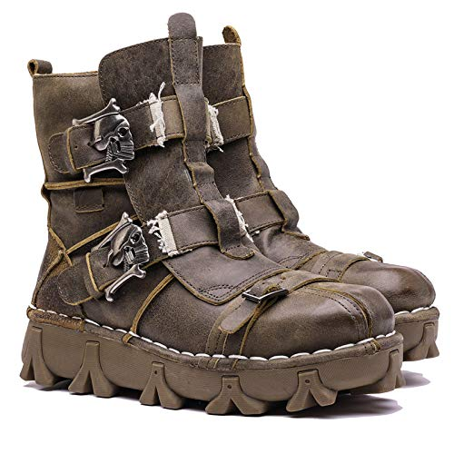 - Lorie & Knight Men's Retro Leather Motorcycle Military Combat Boots with Skull Buckles Khaki
