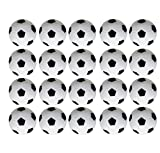 Faswin 20 Pack 36mm Table Soccer Foosballs Replacements Mini Black and White Soccer