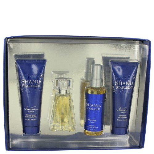 (Shania Starlight by Stetson Gift Set -- 1.7 oz Eau De Toilette Spray 4 oz Body Mist 4 oz Shimmer Body Lotion 4 oz Shower Gel Women)