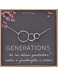 Generations Necklace for Grandma Gifts - Sterling Silver Mom Granddaughter Mothers Day Jewelry Birthday Gift