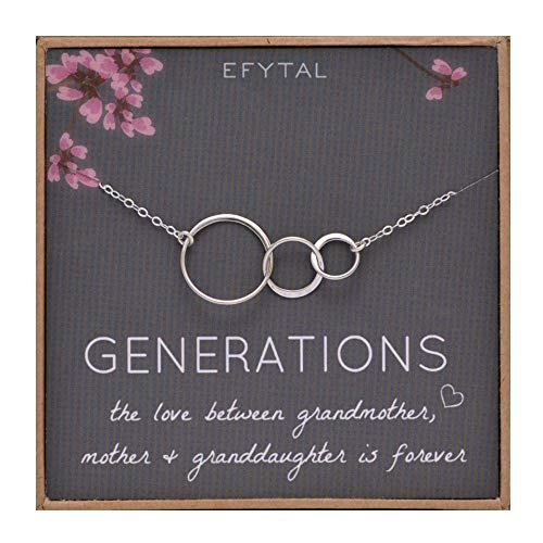 EFYTAL Generations Necklace for Grandma Gifts - Sterling Silver Mom Granddaughter Mothers Day Jewelry Birthday ()